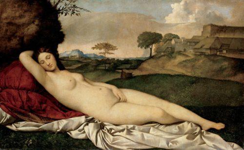 Peinture représentant Vénus endormie, par Giorgione